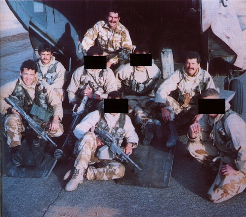 Bravo Two Zero patrol before departure in January 1991, on tailgate of Chinook helicopter.